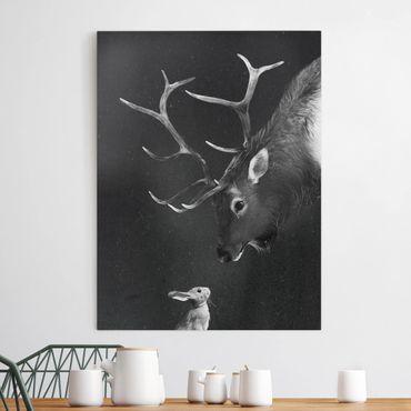 Quadri su tela - Illustrazione Cervi e coniglio pittura Bianco e Nero