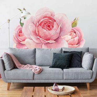 Adesivo murale - Acquerello Pink Rose XXL