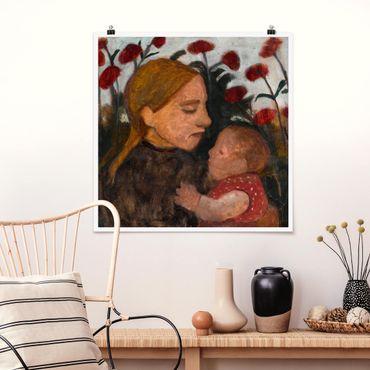 Poster - Paula Modersohn-Becker - Giovane donna con Bambino - Quadrato 1:1