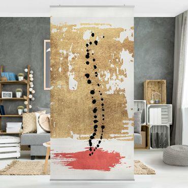 Tenda a pannello - Forme astratte - oro e rosa - 250x120cm