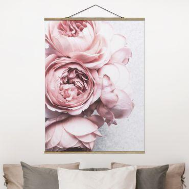Foto su tessuto da parete con bastone - Pink Peony fiori pastello misera - Verticale 4:3