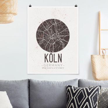 Poster - Mappa Colonia - Retro - Verticale 4:3