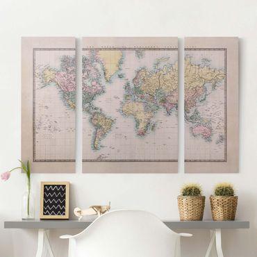 Stampa su tela 3 parti - Vintage World Map 1850 - Trittico