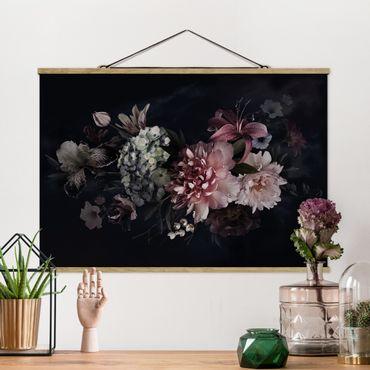 Foto su tessuto da parete con bastone - Fiori con la nebbia in Nero - Orizzontale 2:3