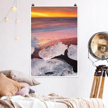 Poster - Pezzi di ghiaccio nel ghiacciaio laguna Jökulsárlón Islanda - Verticale 3:2