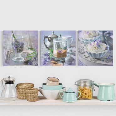 Stampa su tela 3 parti - Lavender Set Vintage - Quadrato 1:1