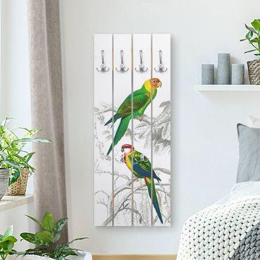 Appendiabiti in legno - Grafico parete Vintage Due pappagalli Verde Rosso - Ganci cromati - Verticale