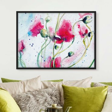 Poster con cornice - Painted Poppies - Orizzontale 3:4