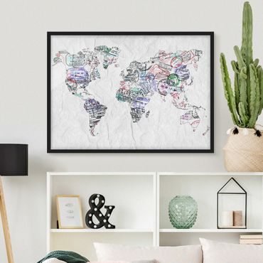 Poster con cornice - Passport Stamp World Map - Orizzontale 3:4