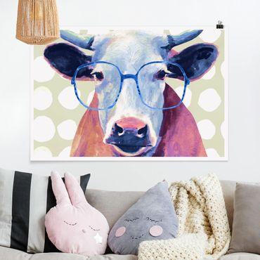 Poster - Animali Occhialuto - Mucca - Orizzontale 2:3