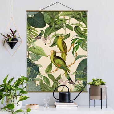 Foto su tessuto da parete con bastone - Vintage Collage - Pappagalli In The Jungle - Verticale 4:3