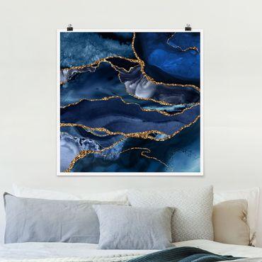 Poster - Oro Glitter Onde Di Fronte Blu - Quadrato 1:1