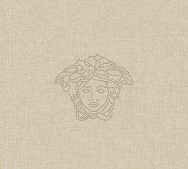 Carta da parati - Versace wallpaper Versace 3 Medusa in Crema Metalizzato