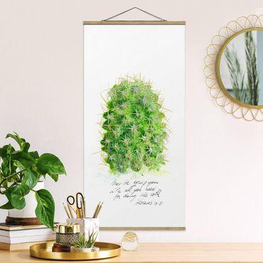 Foto su tessuto da parete con bastone - Cactus Con I versetti biblici - Verticale 2:1