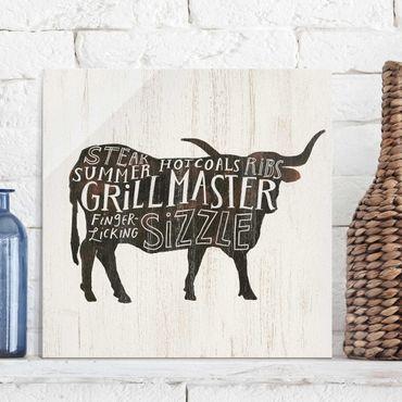 Quadro in vetro - Farm BBQ - Beef - Quadrato 1:1