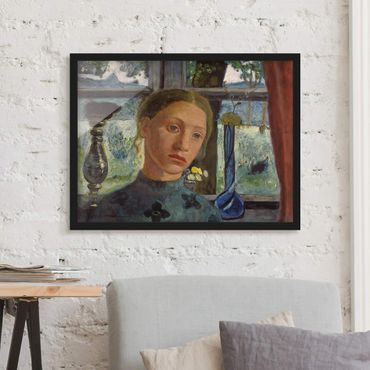 Poster con cornice - Paula Modersohn-Becker - Girl's Head In Front Of A Window - Orizzontale 3:4