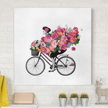 Quadri su tela - Illustrazione Donna in bicicletta Collage fiori variopinti