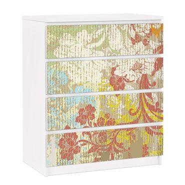 Carta adesiva per mobili IKEA - Malm Cassettiera 4xCassetti - Flowers yesteryear
