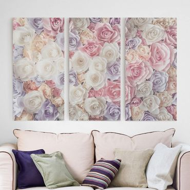 Stampa su tela 3 parti - Pastel Paper Art Roses - Verticale 2:1