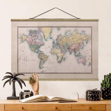 Foto su tessuto da parete con bastone - Mappa del mondo Vintage 1850 - Orizzontale 2:3