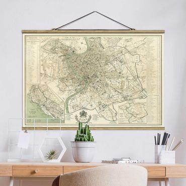 Foto su tessuto da parete con bastone - Vintage mappa di Roma antica - Orizzontale 2:3