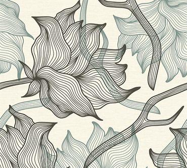 Carta da parati - Lars Contzen Artist Edition No. 1 Dried Flowers in Grigio Nero Bianco