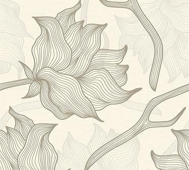 Carta da parati - Lars Contzen Artist Edition No. 1 Dried Flowers in Crema Grigio