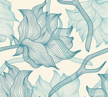 Carta da parati - Lars Contzen Artist Edition No. 1 Dried Flowers in Blu Crema