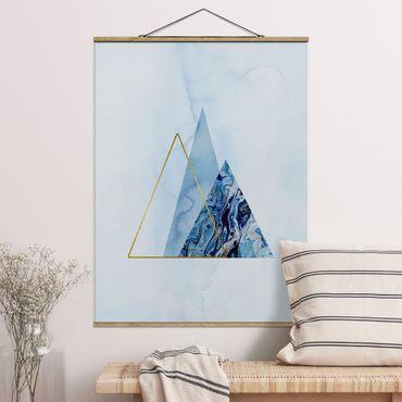 Foto su tessuto da parete con bastone - Geometria di blu e oro II - Verticale 4:3