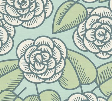 Carta da parati - Lars Contzen Artist Edition No. 1 Fleur Côtiere in Blu Verde Bianco
