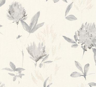 Carta da parati - A.S. Création Designdschungel 2 by Laura N. in Grigio Metalizzato Bianco