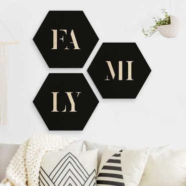 Esagono in legno - Lettere FAMIGLIA Bianco Set I