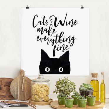Poster - Gatti E Vino rendere tutto Belle - Quadrato 1:1