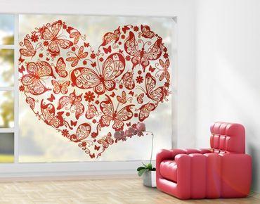 XXL Pellicola per vetri - Heart Made Of Butterflies