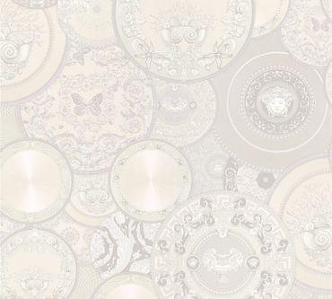 Carta da parati - Versace wallpaper Versace 3 Les Etoiles de la Mer 2 in Grigio Metalizzato Bianco