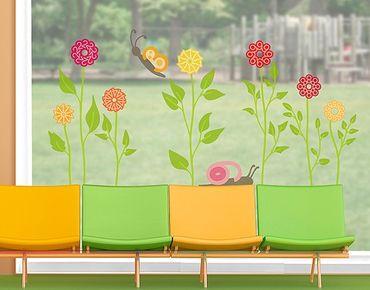 Adesivi da finestra no.RS141 Number-Flowers