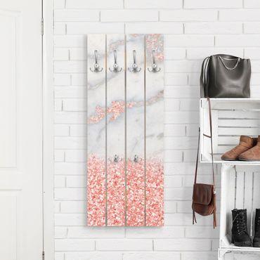Appendiabiti in legno - Ottica marmo con Rosa Confetti - Ganci cromati - Verticale