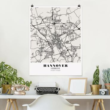 Poster - Mappa Hannover - Classic - Verticale 4:3