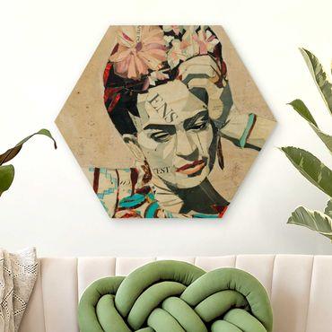 Esagono in legno - Frida Kahlo - Collage No.1