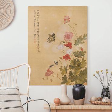 Stampa su tela - Yuanyu Ma - Papaveri e farfalle - Verticale 4:3