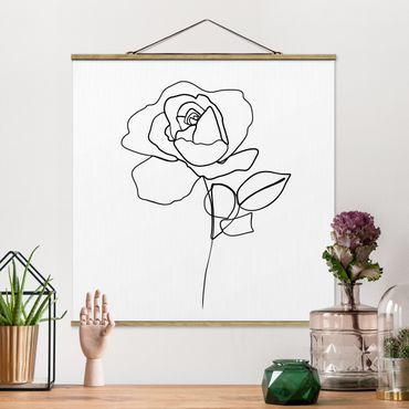 Quadro su tessuto con stecche per poster - Line Art Rosa Nero Bianco - Quadrato 1:1