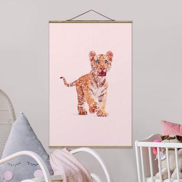 Foto su tessuto da parete con bastone - Tiger con glitter - Verticale 3:2