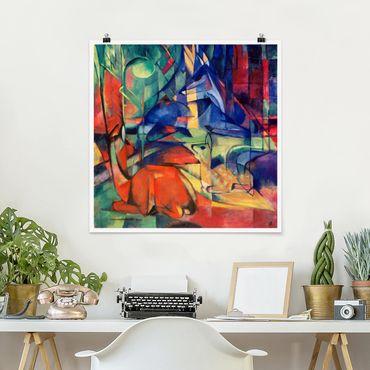 Poster - Franz Marc - Cervi Nella Foresta - Quadrato 1:1