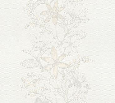 Carta da parati - Esprit Esprit 13 Romantic Botanics in Grigio Metalizzato Bianco