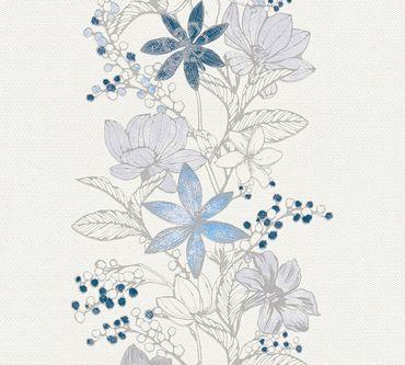 Carta da parati - Esprit Esprit 13 Romantic Botanics in Blu Metalizzato Bianco