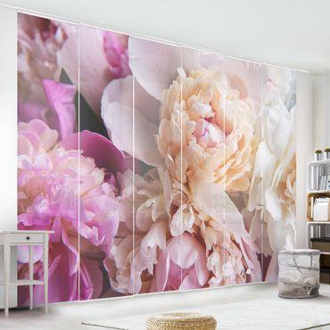 Tende scorrevoli set - Blooming Peony - 6 Pannelli