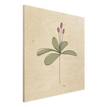 Stampa su legno - Lily Line Art - Quadrato 1:1