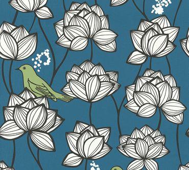 Carta da parati - A.S. Création PaLilla in Blu Verde Bianco