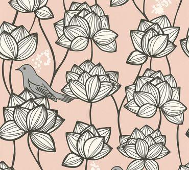 Carta da parati - A.S. Création PaLilla in Grigio Rosa Bianco