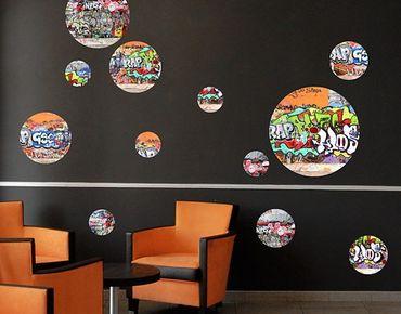 Adesivo murale no.520 Circles Graffiti 12s Set